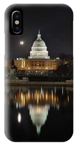 Digital Liquid - Full Moon At The Us Capitol IPhone Case