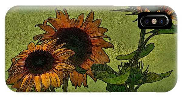 Digital Sunflowers Phone Case by David  Hubbs