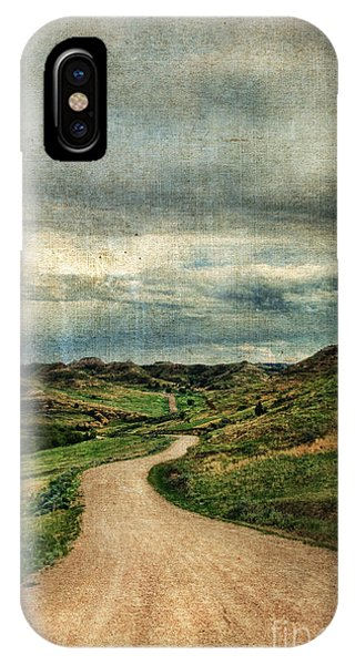 North Dakota Badlands iPhone Case - Dirt Road In North Dakota by Jill Battaglia