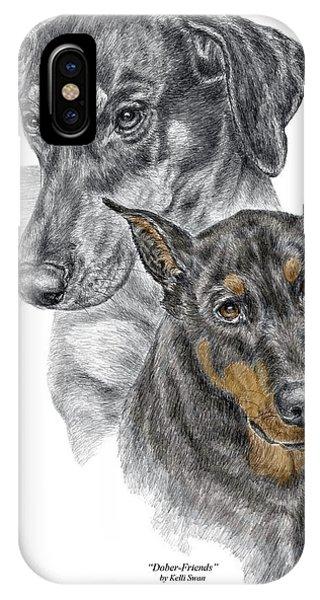 Dober-friends - Doberman Pinscher Portrait Color Tinted IPhone Case