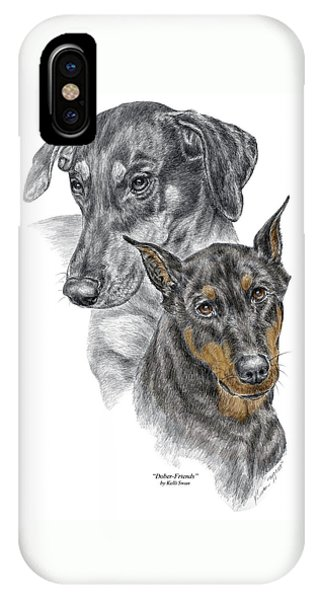 Dober-friends - Doberman Pinscher Portrait Color Tinted IPhone Case