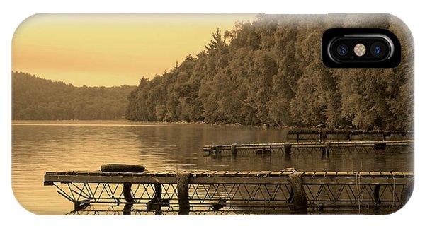 Docks In Sepia Wakomata Lake Phone Case by Marjorie Imbeau
