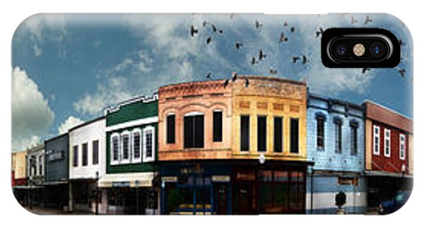 Aggie iPhone Case - Downtown Bryan Texas Panorama 5 To 1 by Nikki Marie Smith