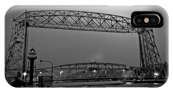 Duluth Lift Bridge Under Lightning IPhone Case