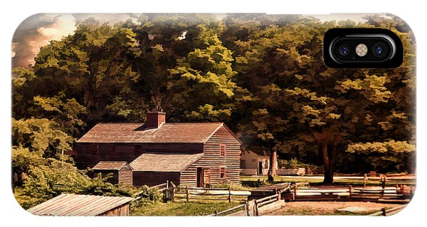 New England Barn iPhone Case - Early Settlers by Lourry Legarde