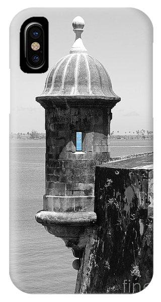 El Morro Sentry Tower Color Splash Black And White San Juan Puerto Rico IPhone Case