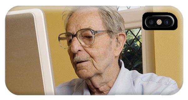 Elderly Man Using A Laptop Computer Phone Case by Steve Horrell