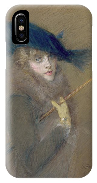 Pastel Pencil iPhone Case - Elegant Lady by Paul Cesar Helleu