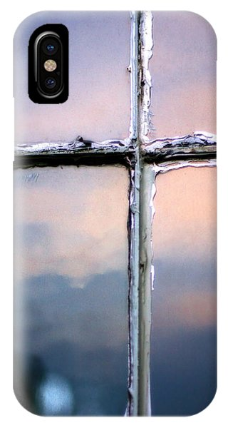 Empty Cross On The Window Of An Old Church IPhone Case