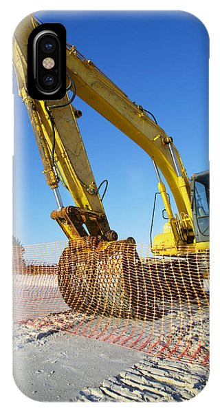 Excavator On The Beach Phone Case by Skip Nall