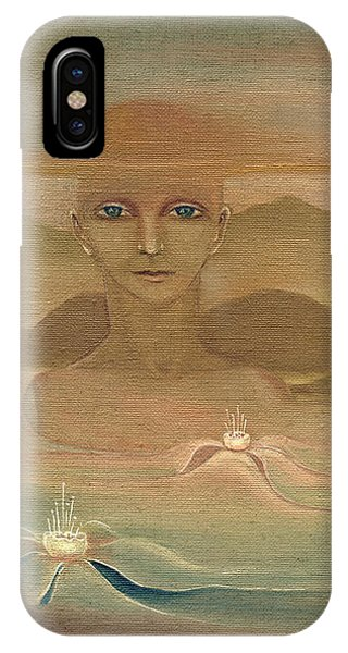 Face From Nature Desert Landscape Abstract Fantasy With Flowers Blue Eyes Yellow Cloud  In Sky  IPhone Case