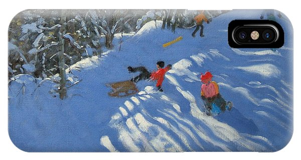 Accident iPhone Case - Falling Off The Sledge by Andrew Macara