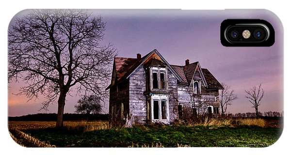 Abandoned Houses iPhone Case - Farm House At Night by Cale Best