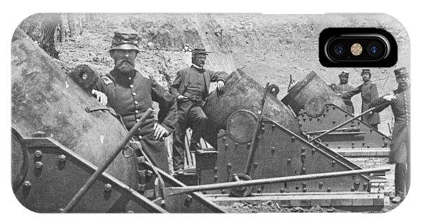 Yorktown iPhone Case - Federal Siege Guns Yorktown Virginia During The American Civil War by Mathew Brady