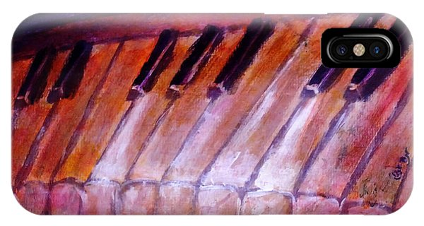 Feeling The Blues On Piano In Magenta Orange Red In D Major With Black And White Keys Of Music IPhone Case