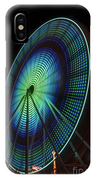 Ferris Wheel Lit Shades Of Green And Blue IPhone Case