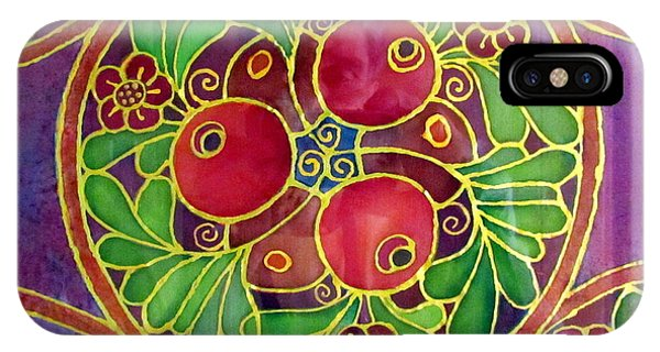 Festive Pomegranates In Gold And Vivid Colors Wall Decor In Red Green Purple Branch Leaves Flowers IPhone Case