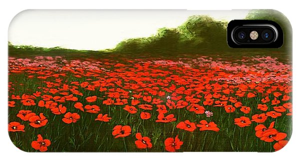 Fine Art Oil Painting Poppies Emerald Isle IPhone Case