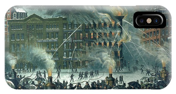 Brownstone iPhone Case - Fire In The New York World Building by American School