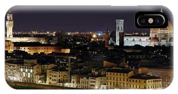 Firenze Skyline At Night - Duomo And Surroundings IPhone Case