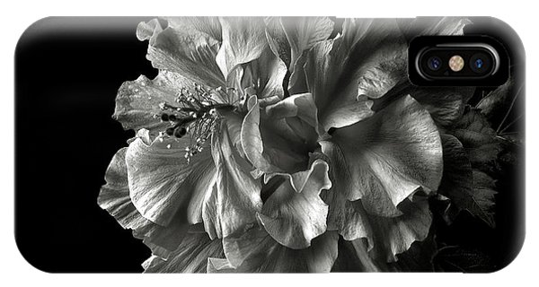 Fluffy Hibiscus In Black And White IPhone Case
