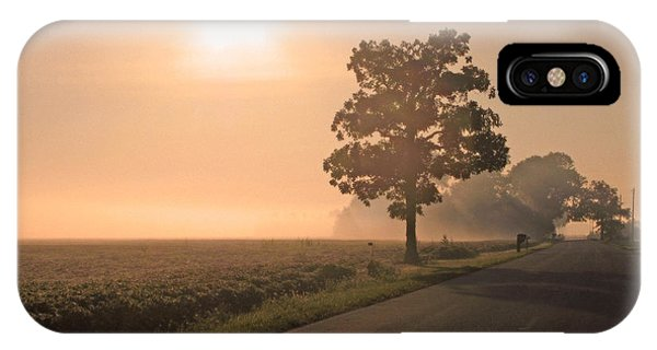 Foggy Sunrise On Soybean Field IPhone Case