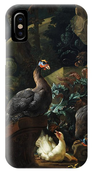 Fowl iPhone Case - Park Landscape With Guinea Fowl, Chicken And Chicks by Abraham Bisschop