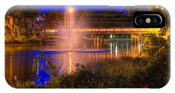Fountain And Bridge At Night IPhone Case