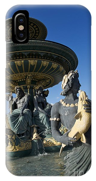 Concorde iPhone Case - Fountain At Place De La Concorde. Paris. France by Bernard Jaubert