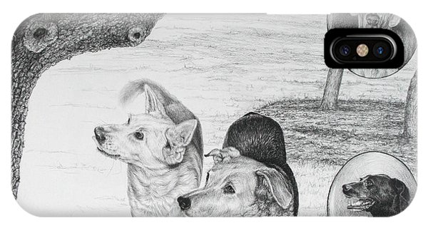 Four Dogs And A Squirrel IPhone Case