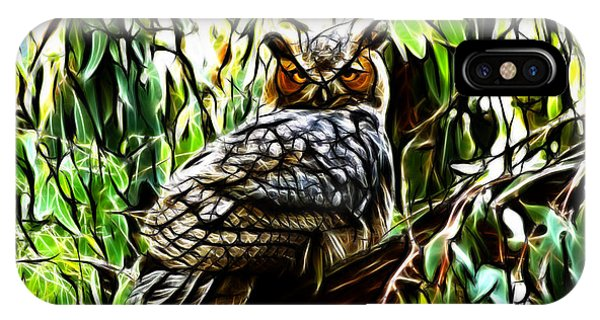 Fractal-s -great Horned Owl - 4336 IPhone Case