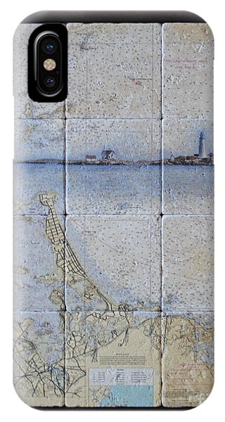 Framed Nautical Chart Of Hingham And Hull With Boston Light  IPhone Case