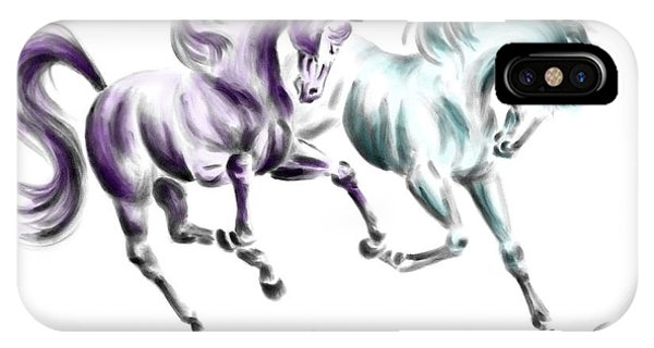 Frolicking - Wild Horses Print Color Tinted IPhone Case