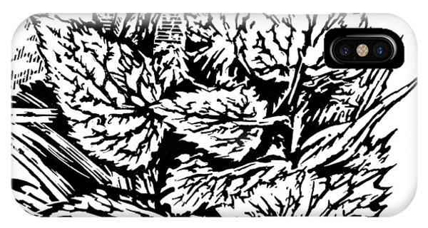 Frost On Leaves, Woodcut Phone Case by Gary Hincks