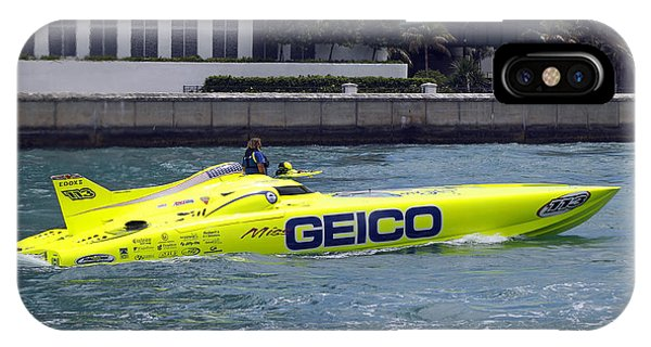 Powerboat iPhone Case - Geico Race Boat by Rudy Umans