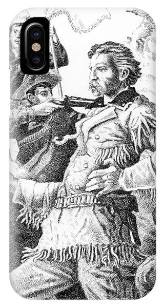 Pen And Ink Drawings For Sale iPhone Case - General Custer's Last Stand by Gordon Punt