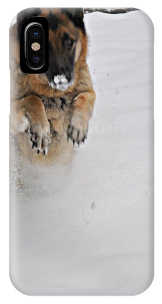 German Shepherd In The Snow 2 IPhone Case