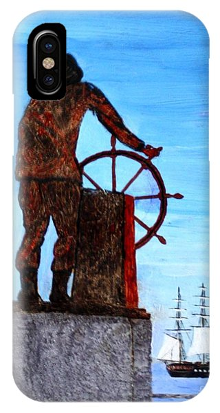 Gloucester Harbor - Us Frigate Constitution And Man At The Wheel IPhone Case