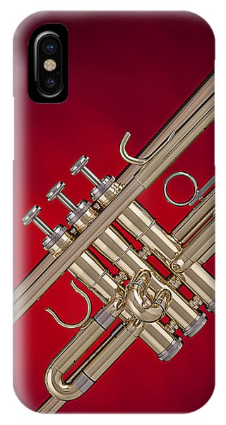Gold Trumpet Isolated On Red IPhone Case