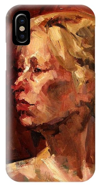 Golden Hair Portrait Of Woman Head In Crimson Yellow Hardworking Fieldworker Mother Whos Thoughtful IPhone Case