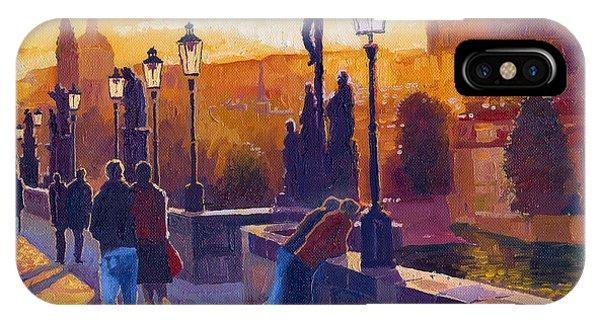 Architecture iPhone Case - Golden Prague Charles Bridge Sunset by Yuriy Shevchuk
