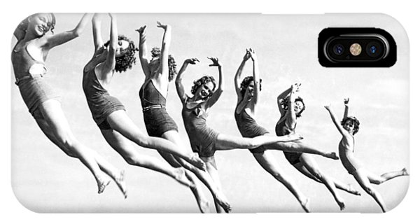 Dance iPhone Case - Graceful Line Of Beach Dancers by Underwood Archives