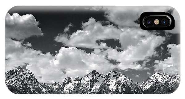 Grand Tetons Panorama In Monochrome IPhone Case