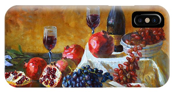 Grape iPhone X Case - Grapes And Pomgranates by Ylli Haruni