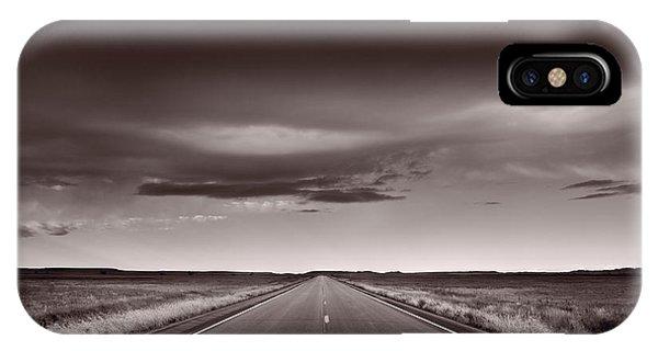 Road iPhone Case - Great Plains Road Trip Bw by Steve Gadomski
