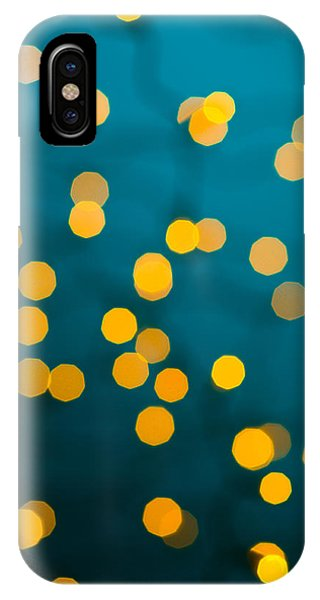 Background iPhone Case - Green Background With Gold Dots  by U Schade