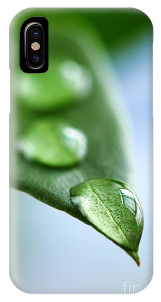 Leaf iPhone Case - Green Leaf With Water Drops by Elena Elisseeva