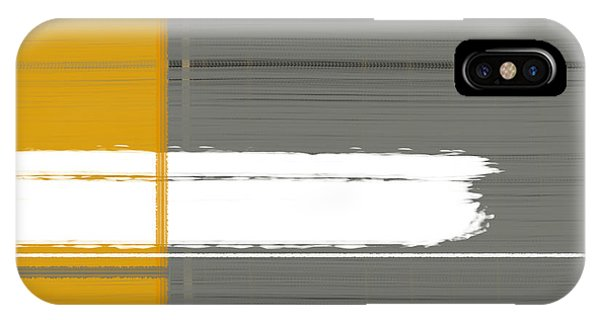 Contemporary iPhone Case - Grey And Yellow by Naxart Studio