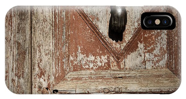 Hand Knocker And Weathered Wooden Doors IPhone Case