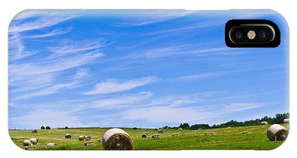 Hay Bales Under Brilliant Blue Sky IPhone Case